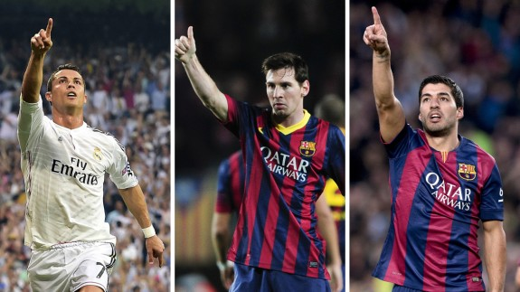 Combination photo made on August 25, 2015 shows Real Madrid's Portuguese forward Cristiano Ronaldo in Madrid on May 13, 2015, Barcelona's Argentinian forward Lionel Messi in Barcelona on February 15, 2014 and Barcelona's Uruguayan forward Luis Suarez in Barcelona on February 15, 2015.  Barcelona's stars Lionel Messi and Luis Suarez are up against Real Madrid's Cristiano Ronaldo for UEFA's 2014-2015 Best Player award which will be awarded on August 27, 2015 in Monaco. AFP PHOTO / GERARD JULIEN / JOSEP LAGO