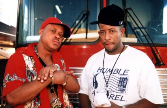CHICAGO - JULY 1998:  Pioneering rapper Guru (Keith Elam, left) and DJ Premier (Christopher Edward Martin right) of the group Gang Starr pose for a portrait in July 1998 in Chicago, Illinois.  (Photo by Raymond Boyd/Michael Ochs Archives/Getty Images)